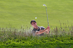 June 11, 2019 - Pebble Beach, CA, U.S. - PEBBLE BEACH, CA - JUNE 11: Oklahoma State golfer Viktor Hovland who won the 2018 US Amateur hits out of a sand trap on the 18th hole during a practice round for the 2019 US Open on June 11, 2019, at Pebble Beach Golf Links in Pebble Beach, CA. (Photo by Brian Spurlock/Icon Sportswire) (Credit Image: © Brian Spurlock/Icon SMI via ZUMA Press)