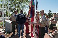 Boy Scout troop 65 rededicate the War Memorial next to the Belmont Library following their Memorial Day Parade Monday afternoon.  (Karen Bobotas/for the Laconia Daily Sun)