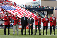 04 June 2011: Dignitaries on the field during the playing of the U.S. national anthem. From left: 2011 National Soccer Hall of Fame Inductees Eddie Pope and Bob Gansler, Royal Spanish Football Federation president Angel Maria Villar, United States Soccer Federation President Sunil Gulati, and 2011 National Soccer Hall of Fame Inductees Bruce Murray, Cobi Jones, and Earnie Stewart. The Spain Men's National Team defeated the United States Men's National Team 4-0 at Gillette Stadium in Foxborough, Massachusetts in an international friendly soccer match.