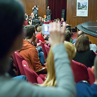 US actor John de Lancie (R) talks on stage during a meeting with his fans in Budapest, Hungary on January 11, 2015. ATTILA VOLGYI