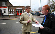 Councillor Richard Barnbrook, BNP (British National Party) candidate for Goresbrook Ward, East London complains to Times reporter Dominic Kenneday about an article in the previous days paper. Outside a BNP meeting in Elm Park, Essex.