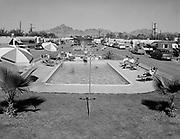 "0301-534A. ""Squaw Peak Trailer Court. pool.""  on Indian School Road, Phoenix, Arizona 1950s"