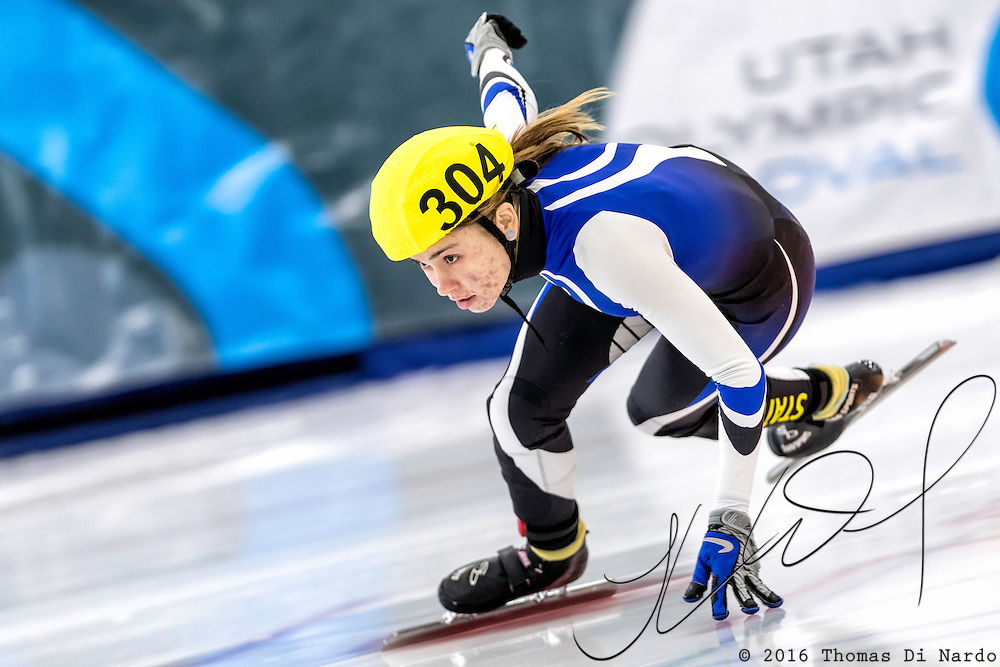 December 17, 2016 - Kearns, UT - Valeria Demshin skates during US Speedskating Short Track Junior Nationals and Winter Challenge Short Track Speed Skating competition at the Utah Olympic Oval.