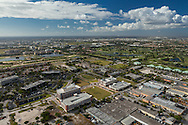 Aerial view of Doral, Florida including The Blue Monster golf course and municipal, office and retail buildings.