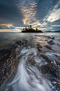 Clouds begin to light up at sunrise over Porter's Island - Copper Harbor in Michigan's Keweenaw Peninsula
