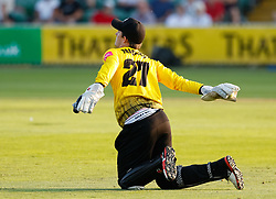 Gloucestershire's Gareth Roderick throws at the stumps<br /> <br /> Photographer Simon King/Replay Images<br /> <br /> Vitality Blast T20 - Round 1 - Somerset v Gloucestershire - Friday 6th July 2018 - Cooper Associates County Ground - Taunton<br /> <br /> World Copyright © Replay Images . All rights reserved. info@replayimages.co.uk - http://replayimages.co.uk