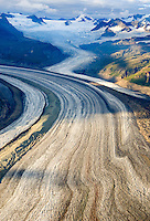 Aerial view of the Rohn Glacier flowing out of the Wrangell Mountains, Wrangell-St. Elias National Park Alaska