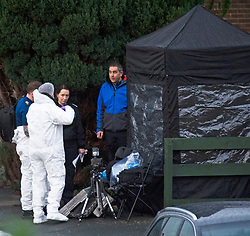 ©Licensed to London News Pictures 22/12/2019. <br /> Crawley Down ,UK. Police forensic officers on  scene. Two people are dead and a third is fighting for life after a knifeman attacked people on a housing estate in Crawley Down, West Sussex Photo credit: Grant Falvey/LNP