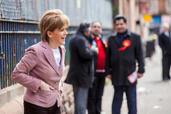 First Minister of Scotland and leader of the SNP Nicola Sturgeon, out on the election trail to make sure people are out voting today, May 7, 2015 in Glasgow, Scotland. Out in Lorne Street.