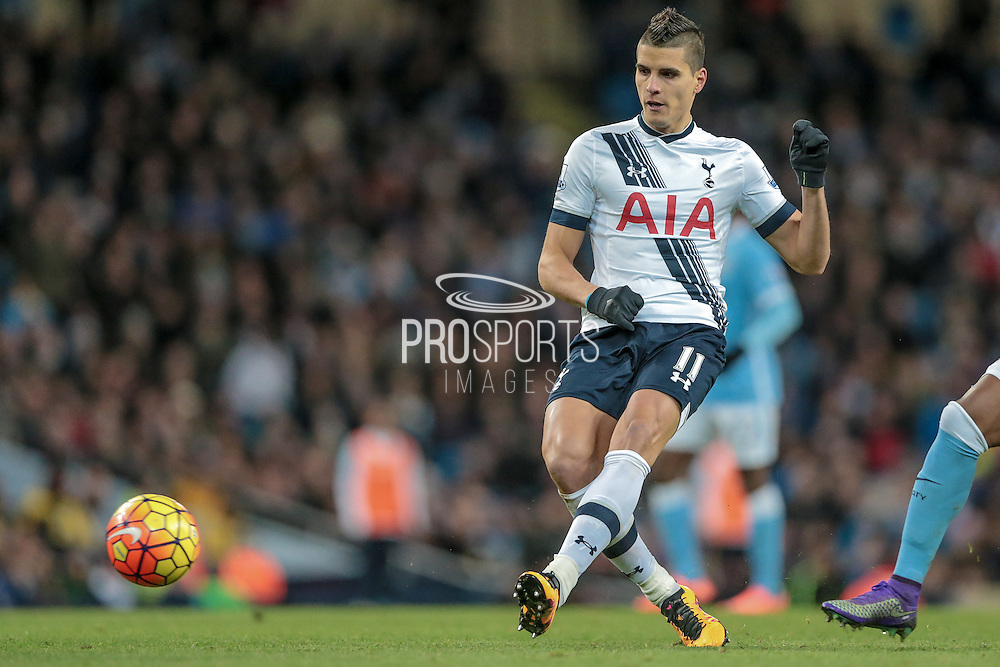 Érik Lamela (Tottenham Hotspur) plays the through ball for Christian Eriksen (Tottenham Hotspur) to score the winning goal for Spurs during the Barclays Premier League match between Manchester City and Tottenham Hotspur at the Etihad Stadium, Manchester, England on 14 February 2016. Photo by Mark P Doherty.