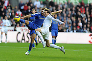 Swansea city's Michu (r) is denied a goal by the tackle from Branislav Ivanovic.  Barclays Premier league, Swansea city v Chelsea at the Liberty Stadium in Swansea, Swansea, South Wales on Saturday 3rd November 2012. pic by Andrew Orchard, Andrew Orchard sports photography,