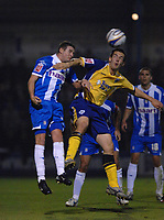 Photo: Ashley Pickering/Sportsbeat Images.<br /> Colchester United v Leicester City. Coca Cola Championship. 03/11/2007.<br /> Matty Fryatt of Leicester (R) wins a header from Mark Yeates of Colchester