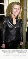 MISS LOUISA WELBY-EVERARD a friend of Prince William, at a party in London on 13th November 2001.OUE 121