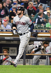 May 9, 2018 - Milwaukee, WI, U.S. - MILWAUKEE, WI - MAY 09: Cleveland Indians Outfield Tyler Naquin (30) rounds the bases after hitting a 3-run home run in the top of the 4th inning during a MLB game between the Milwaukee Brewers and Cleveland Indians on May 9, 2018 at Miller Park in Milwaukee, WI.The Indians defeated the Brewers 6-2.(Photo by Nick Wosika/Icon Sportswire) (Credit Image: © Nick Wosika/Icon SMI via ZUMA Press)