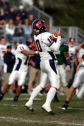 10 November 2007: Ric Radcliffe catches a kicked ball. This game between the Wheaton College Thunder and the Illinois Wesleyan University Titans was for a share of the CCIW Championship and was played at Wilder Field on the campus of Illinois Wesleyan University in Bloomington Illinois.