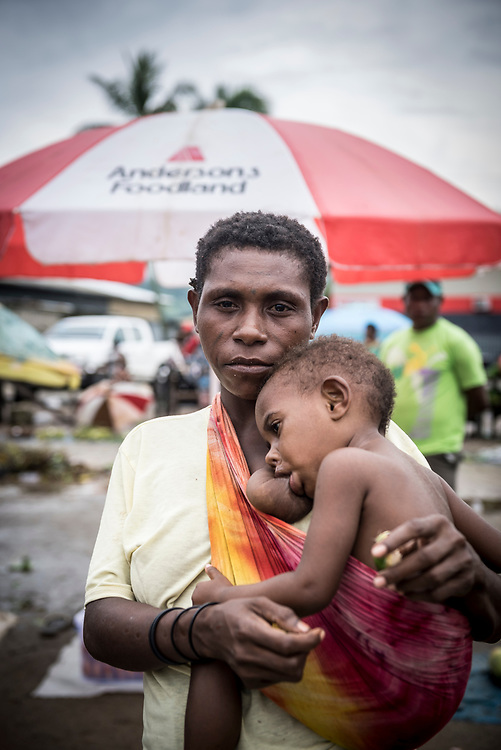 Mother and child at the market in Vanimo, West Sepik Province, Papua New Guinea. (July 18, 2017)