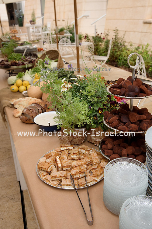 An assortment of foods in bowls on a buffet table during a daytime event