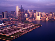 Aerial view of early morning light illuminating the Chicago skyline, Chicago, Illinois.