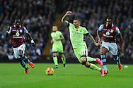 Aleksandar Kolarov of Manchester city (c) in action. Barclays Premier league match, Aston Villa v Manchester city at Villa Park in Birmingham, Midlands  on Sunday 8th November 2015.<br /> pic by  Andrew Orchard, Andrew Orchard sports photography.