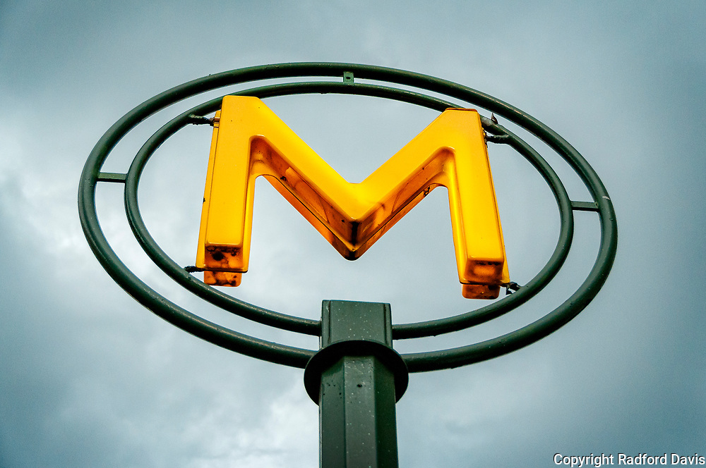 Metro station sign, Paris, France