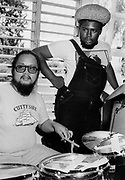 Robbie Skakespear with Mikey Chung during the Don't Look Back video shoot - Kingston jamaica - 1978