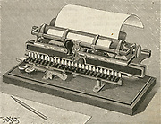 Merrit's typewriter: a keyboard machine with a travelling carriage.  Engraving, 1891.