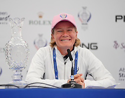 Auchterarder, Scotland, UK. 12 September 2019. Press conference with captain of Team Europe, Catriona Matthew and Team USA, Juli Inkster, to announce the pairings for the Friday Foursomes matches at the 2019 Solheim Cup. Pictured; Catriona Matthew. Iain Masterton/Alamy Live News