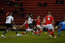 Jay Emmanuel-Thomas of Bristol City shoots wide as Aden Flint calls for a pass - Photo mandatory by-line: Rogan Thomson/JMP - 07966 386802 - 20/12/2014 - SPORT - FOOTBALL - Crewe, England - Alexandra Stadium - Crewe Alexandra v Bristol City - Sky Bet League 1.