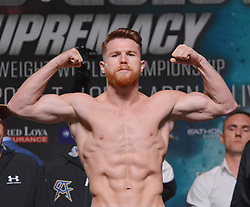 September 15, 2017 - Las Vegas, Nevada, U.S. - Boxer Canelo Alvarez attends the weigh in ceremony for his bout against  WBA, WBO, IBF and IBO Unified Middleweight Boxing champion Gennady Golovkin on September14, 2017 at the MGM Grand  Garden Arena in Las Vegas, Nevada (Credit Image: © Marcel Thomas via ZUMA Wire)