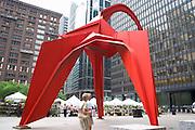 Calder Flamingo Sculpture in the Federal Plaza.  Chicago Illinois USA