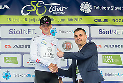 Best young rider classification winner Ziga Jerman (SLO) of Rog - Ljubljana in white jersey and Primoz Rot of Zavarovalnica Triglav during trophy ceremony after the Stage 2 of 24th Tour of Slovenia 2017 / Tour de Slovenie from Ljubljana to Ljubljana (169,9 km) cycling race on June 16, 2017 in Slovenia. Photo by Vid Ponikvar / Sportida