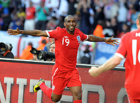 Nelson Mandela Bay Stadium Port Elizabeth World Cup 2010  Match 37 23/06/10<br /> Jermain Defoe (ENG)  celebrates first goal<br /> Photo Roger Parker Fotosports International