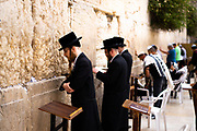 Jews pray at The Wailing Wall, Jerusalem Old City, Israel