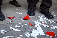 18 JAN 2002, BERLIN/GERMANY:<br /> Reste von zerschnittenen SPD Parteibuechern, nach einer Protestaktion  von SPD Mitgliedern aus Berlin gegen die SPD/PDS Koalition im Berliner Abgeordnetenhaus vor dem Willy-Brandt-Haus<br /> IMAGE: 20020118-01-012<br /> KEYWORDS: Sozialdemokraten, Parteibuch, Parteimitglied, Parteimitglieder, Demonstration
