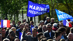 May 1, 2017 - Paris, France, United Kingdom - Image ©Licensed to i-Images Picture Agency. 01/05/2017. Paris, United Kingdom. Marine Le Pen Rally...Presidential hopeful and former Front National leader, Marine Le Pen, speaks at a rally on Labour Day in the Suburbs of Paris...Picture by Pete Maclaine / i-Images (Credit Image: © Pete Maclaine/i-Images via ZUMA Press)