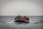 Feb. 24, 2016 - Lesbos, Greece - <br /> Refugees and migrants on a rubber boat arrive in Mytilene, island of Lesbos, Greece, on February 24, 2016. More than 110,000 migrants and refugees have crossed the Mediterranean to Greece and Italy so far this year, and 413 have lost their lives trying, the International Organization for Migration said on February 23, 2016.<br /> ©Exclusivepix Media