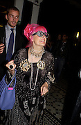 Zandra Rhodes, Burberry party to launch perfume. the Old In and Out club, Piccadilly. 22/9/03 © Copyright Photograph by Dafydd Jones 66 Stockwell Park Rd. London SW9 0DA Tel 020 7733 0108 www.dafjones.com