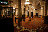 Kairouan, Tunisia - 18 December, 2011: Said Ferjani, 57, senior member of the political and communication bureau of the Nahda (Renaissance) party, prays at dawn at the  Great Mosque of Sidi-Uqba in Kairouan, Tunisia on 18 December, 2011. In the 24 October 2011 Tunisian Constituent Assembly election, the first elections since the Tunisian Revolution, the party won 40% of the vote, and 89 of the 217 assembly seats, far more than any other party. Said Ferjani started his activism in the Negra mosque of his hometown Kairouan when he was 16 years old, debating on politics, philosophy, economy and world events. In 1989 former dictator Zine El Abidine Ben Ali turned against Nahda (or Ennahda) and jailed 25,000 activists. Said Ferjani was jailed and tortured. He then flew Tunisia and moved to the UK. He came back to Tunisia after 22 years, after former dictator Ben Ali flew the country.<br /> <br /> Gianni Cipriano for The New York Times, senior member of the political and communication bureau of the Nahda (Renaissance) party, prays at dawn at the  Great Mosque of Sidi-Uqba in Kairouan, Tunisia on 18 December, 2011. In the 24 October 2011 Tunisian Constituent Assembly election, the first elections since the Tunisian Revolution, the party won 40% of the vote, and 89 of the 217 assembly seats, far more than any other party. Said Ferjani started his activism in the Negra mosque of his hometown Kairouan when he was 16 years old, debating on politics, philosophy, economy and world events. In 1989 former dictator Zine El Abidine Ben Ali turned against Nahda (or Ennahda) and jailed 25,000 activists. Said Ferjani was jailed and tortured. He then flew Tunisia and moved to the UK. He came back to Tunisia after 22 years, after former dictator Ben Ali flew the country.<br /> <br /> Gianni Cipriano for The New York Times