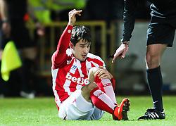 Stoke City's Bojan Krkic picks up an injury - Photo mandatory by-line: Matt McNulty/JMP - Mobile: 07966 386802 - 26/01/2015 - SPORT - Football - Rochdale - Spotland Stadium - Rochdale v Stoke City - FA Cup Fourth Round