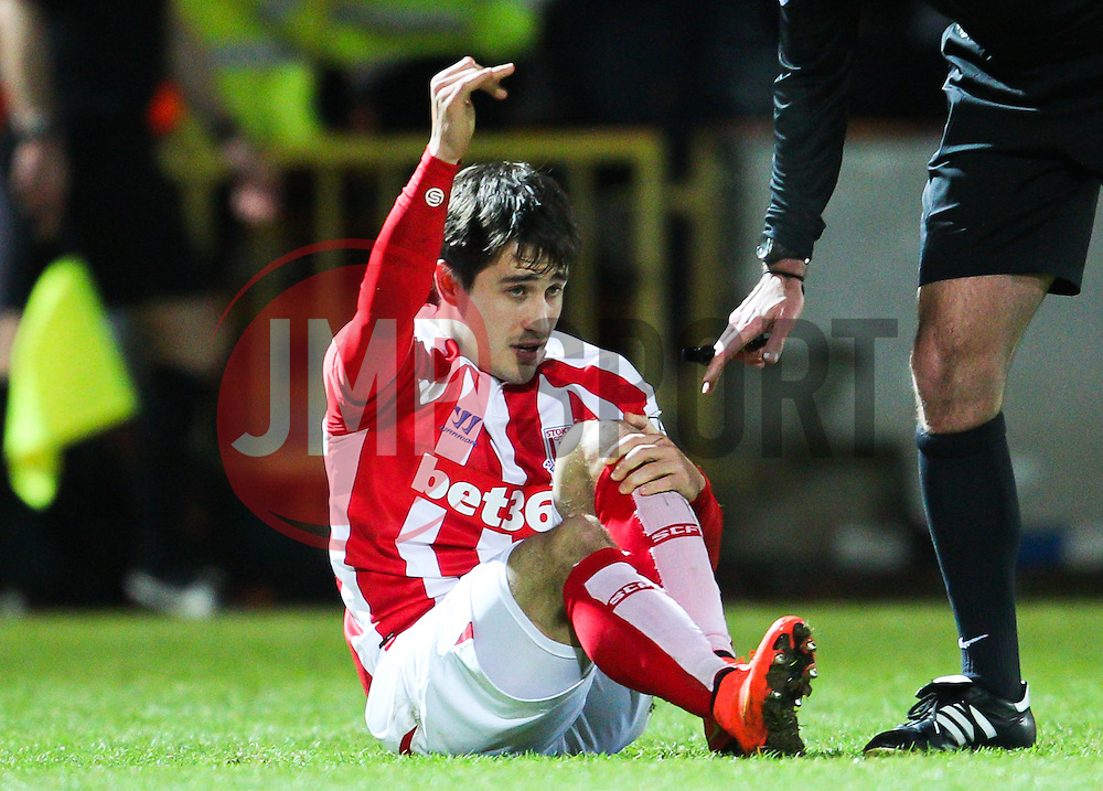 Stoke City's Bojan Krkic picks up an injury - Photo mandatory by-line: Matt McNulty/JMP - Mobile: 07966 386802 - 26/01/2015 - SPORT - Football - Rochdale - Spotland Stadium - Rochdale v Stoke City - FA Cup Fourth Round