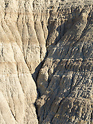 Closeup view of Badlands National Park on an early spring day; South Dakota, USA.