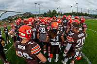 KELOWNA, BC - AUGUST 17:  The Okanagan Sun huddle at the goal line prior to kick off against the Westshore Rebels  at the Apple Bowl on August 17, 2019 in Kelowna, Canada. (Photo by Marissa Baecker/Shoot the Breeze)
