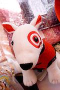 Bullseye the Bull Terrier with Target store logo painted on his eye. Dragon Festival Lake Phalen Park St Paul Minnesota USA