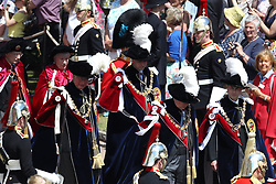 The Earl of Wessex (right), the Duke of York (2nd right), the Duke of Cambridge (3rd right) and the Prince of Wales (4th right) during the annual Order of the Garter Service at St George's Chapel, Windsor Castle.