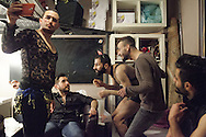 The five contestants of Mr Gay Syria backstage during the contest in Istanbul, Turkey. Omar (left) Isam (centre left), Wissam (centre) and Omar (centre right) are all still living in Istanbul. William (far right) smuggled himself to Greece after the contest and is currently stuck in Athens.