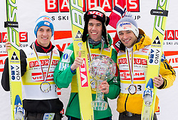Overall second placed SCHLIERENZAUER Gregor (AUT), first placed BARDAL Anders (NOR), overall World Cup Champion and overall third placed KOFLER Andreas (AUT) celebrate at trophy ceremony after the Flying Hill Individual competition at 4th day of FIS Ski Jumping World Cup Finals Planica 2012, on March 18, 2012, Planica, Slovenia. (Photo by Vid Ponikvar / Sportida.com)