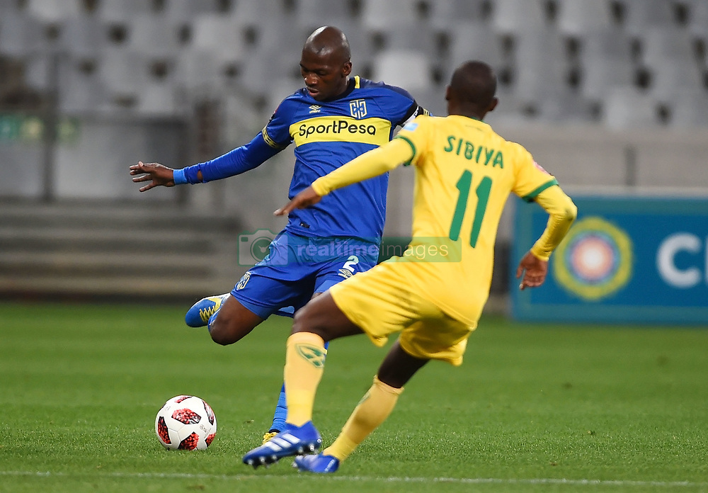 Cape Town-180818 Cape Town City defender Thami Mkhize  challenged by Nduduzo Sibiya  of Golden Arrows in a PSL match at Cape Town Stadium .photograph:Phando Jikelo/African News Agency/ANA