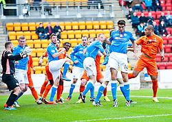 Kilmarock's Josh Magennis scoring their second goal.<br /> St Johnstone 1 v 2 Kilmarock, SPL game played at McDrarmid Park.