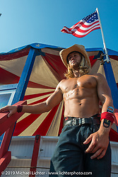Caleb Allard on the Wall of Death at the the Full Throttle Saloon during the annual Sturgis Black Hills Motorcycle Rally. SD, USA. August 7, 2014.  Photography ©2014 Michael Lichter.