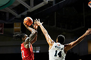 MIAMI, FL - November 5, 2019:  Aidan takes his shot during his first game as a Louisville Cardinals on the road verse the Miami Hurricanes.<br /> <br /> Photo by: Johnnie Izquierdo